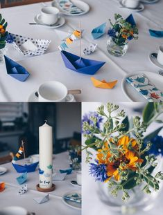 DIY table decoration for baptism with boats - folding paper boats - origami with boats- DIY Tischdeko zur Taufe mit Booten – Papierboote falten – Origamit Boote DIY table decoration for baptism with boats – origami boats with … - Paper Boat Folding, Paper Boat Origami, Origami Boot, Origami Diy, Origami Table, Decoration Vitrine, Decoration Table, Diy Home Crafts, Easy Crafts