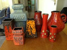 WGP pottery- I like that orange and black Fohr metronome vase in the middle.
