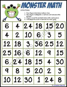 Monster Math - Free Multiplication Game from Teachers Take Out on…