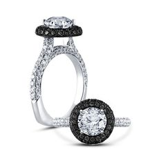 18 k White Gold Finish 925 Silver Black & White Stone Engagement Ring Size 5-12  #affoin8 #SolitaiteWithAccents
