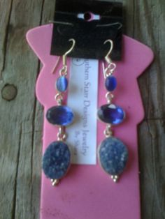 Blue Druzy & Blue  touramline stone with by BrightStarrCreations, $24.00