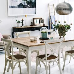 Provincial Oak Table White with 6 Cross Back Chairs Vintage White Package - Packages - Dining Oak Dining Room Chairs, Cross Back Dining Chairs, Oak Dining Table, Small Chair For Bedroom, Wrought Iron Patio Chairs, Design Moderne, Decoration Table, Fashion Room, Interior Design Living Room