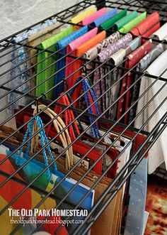 Easy ways to organize The Tissue paper organization would work for fabrics too...clever thought