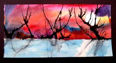 beautiful ink blown landscape, 5th grade