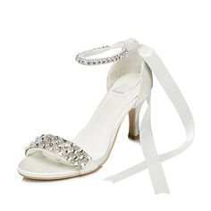 Satin Women's Wedding Stiletto Heel Heels Sandals With Rhinestone Shoes(More Colors) – AUD $ 51.34