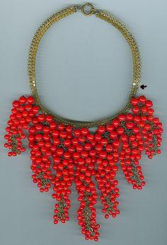 Miriam Haskell 1960's juicy berries bib necklace