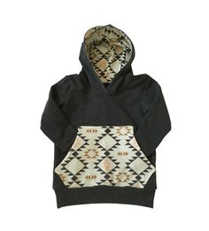 A personal favorite from my Etsy shop https://www.etsy.com/listing/242852650/organic-charcoal-navajo-hoodie-baby-boy
