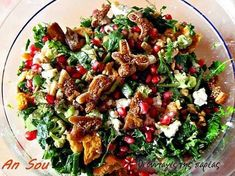 Salad with arugula, pomergranate and honey Greek Recipes, New Recipes, Salad Recipes, Snack Recipes, Cooking Recipes, Healthy Recipes, Xmas Food, Christmas Cooking, Greece Food