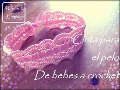 Cinta para el pelo a crochet para bebes (diestro)