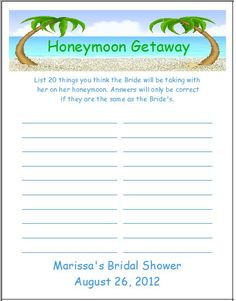 honeymoon bridal shower games - Google Search @Kayla Ward