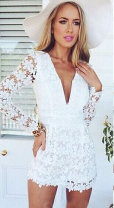 Find Vivien White V-Neck Lace Jumpsuit at California-dreaming.com!