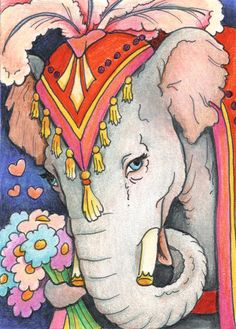 Elephant Flowers Drawing by Amy S Turner - Elephant Flowers Fine Art Prints and Posters for Sale