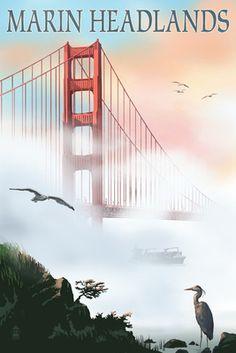Marin Headlands - Golden Gate Bridge in Fog - Lantern Press Poster