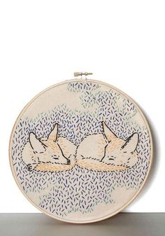 What Does the Fox Dream? Embroidery Kit. Let your imagination run wild with this adorable embroidery kit. #multi #modcloth