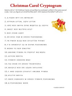 Here are 18 Christmas carol titles that have been written in secret code. Can you crack this fun holiday cryptogram? Free Christmas Games, Christmas Puzzle, Christmas Worksheets, Christmas Crack, Free Christmas Printables, Christmas Activities, Christmas And New Year, Holiday Crafts, Holiday Fun