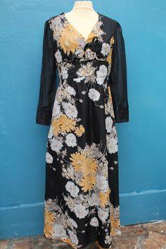 robe longue droite motif fleur rayure T38 40 vintage retro année 70 80 's