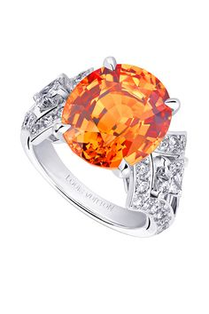 Orange topaz and silver ring. V for Vuitton by Laurenz Baumer. Luis Vutton fine jewelry collection of the french fashion house. From astairwaytofashion.com