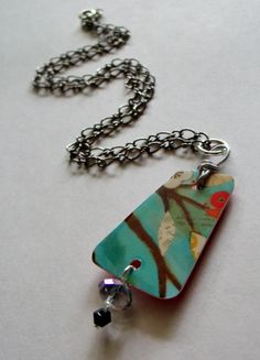 aqua tree upcycled gift card necklace - reversible - asymmetrical - Pier One gift card on Etsy, $25.00