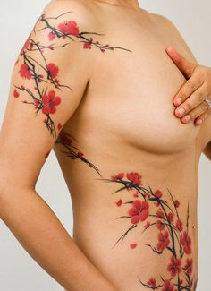 shoulder ribcage stomach shoulder back nature red brown black blossoms flowers branches female woman women girl pretty beautiful  tattoos tattoo tat tats idea ideas inspiration ink