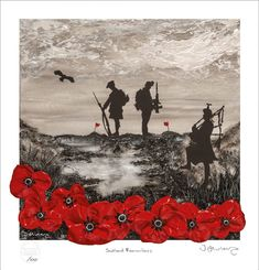 'Scotland Remembers' - POSH Original Art by Jacqueline Hurley War Poppy Collection Remembrance Day Painting Signed Limited Edition Print Remembrance Day Art, Patriotic Tattoos, Lest We Forget, World War One, Painted Signs, Limited Edition Prints, Beautiful Cats, Contemporary Paintings, Hurley