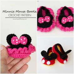 Funny Minnie Mouse Booties Crochet Pattern