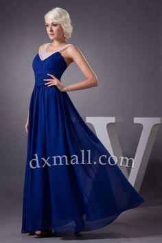 Empire Wedding Guest Dresses V-neck Floor Length Chiffon Taffeta Sky Blue 130010300373