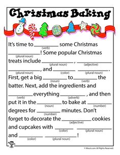 Christmas Baking Kid's Mad Libs 15 free Christmas mad libs for kids, in full color (or colorable) and ready to print! Christmas Mad Libs For Kids, Christmas Baking For Kids, Funny Christmas Party Games, Christmas Trivia, Christmas Worksheets, Noel Christmas, Christmas Printables, Christmas Traditions, Christmas Humor