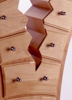 "Cracked Cabinet - Detail  26"" W x 56.5""H x 14.5"" D   Eastern Maple, Maple Veneer"