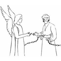 bible coloring pages for peter's escape from jail | Angel Coloring Pages