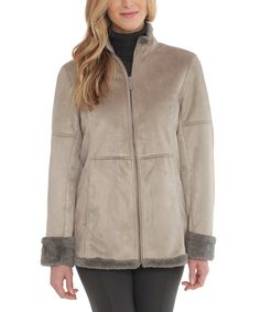 Du Monde Gray Faux Shearling Jacket | zulily . $54.99 $189.00 size: size chart XS S M L XL Product Description:  Faux fur adds cool-weather charm to your look. A zip front and raw edges exude trend-savvy style.      Size S: 27'' long from high point of shoulder to hem     100% acrylic     Dry clean     Imported