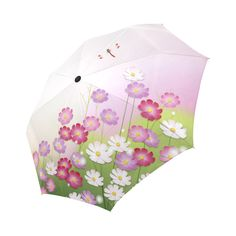 Cute Pink Flower Dragonfly Floral Auto-Foldable Umbrella