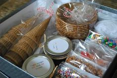 """Ice Cream Sundae Kit, give this and a board game or movie for a great """"family night"""" gift."""