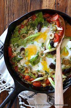 mediterranean eggs with olives & mozzarella