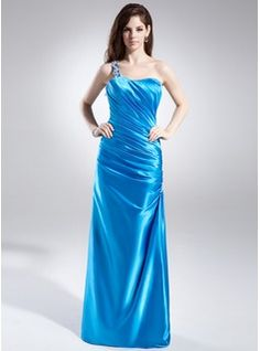 Prom Dresses - $155.99 - Sheath/Column One-Shoulder Floor-Length Charmeuse Prom Dress With Ruffle Appliques  http://www.dressfirst.com/Sheath-Column-One-Shoulder-Floor-Length-Charmeuse-Prom-Dress-With-Ruffle-Appliques-018015879-g15879