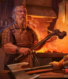 m Dwarf Blacksmith Weaponsmith male Dwarven Fortress forge merchant WarHammer med Fantasy Dwarf, Fantasy Warrior, Fantasy Rpg, Medieval Fantasy, Fantasy World, Character Creation, Character Concept, Character Art, Vikings