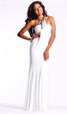 JOVANI White Goddess Gown Halter Silver Geo Necklace SZ 6 Style #8188 | eBay