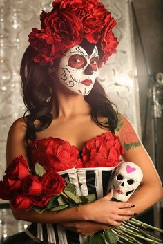 Red Floral Catrina