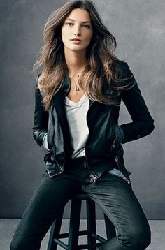 Daria Werbowy in a vintage rag & bone leather biker jacket in Vogue