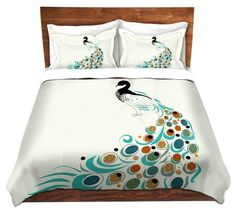 Duvet Cover Brushed Twill Twin, Queen, King SETs from DiaNoche Designs by Marci Cheary Unique Home Decor and Designer Bedding Ideas - Peacock II Bed Comforter Sets, Best Bedding Sets, Luxury Bedding Sets, Unique Bedding, Luxury Duvet Covers, Bed Duvet Covers, Duvet Cover Sets, Bed Cover Design, Bed Design
