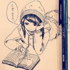 休憩〜お久しぶりです。読書したいな〜なんとなく #illustration #doodle #drawing #otaku #manga #イラスト #絵 #落書き #アナログ