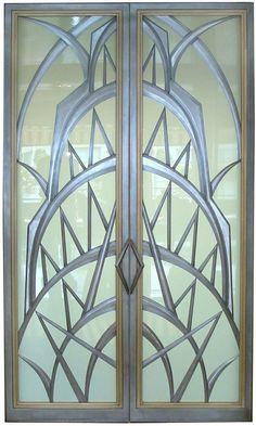 Art Deco style glass doors, created by Eric David Laxman for a penthouse apartme. - Art Deco style glass doors, created by Eric David Laxman for a penthouse apartment in New York City - Art Deco Door, Art Deco Glass, Motif Art Deco, Art Deco Design, Set Design, Art Nouveau Arquitectura, Muebles Art Deco, Design Industrial, Estilo Art Deco