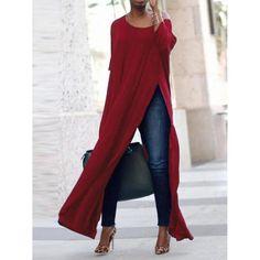 Mein Still Casual Women Side Split Long Maxi Shirts. Brief,Casual, Half Sleeve, O-Neck. Mode Outfits, Fall Outfits, Casual Outfits, Fashion Outfits, Womens Fashion, Fashion Trends, Fashion Blouses, Dress Casual, Fashion Ideas