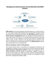 Managing your Human Resource System Efficiently with HRMS Software Hr Management, Life Cycles, Human Resources, Software