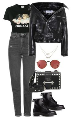 """""""Sem título #1443"""" by bruna-linda-12 ❤ liked on Polyvore featuring Fiorucci, Topshop, Balenciaga, Dr. Martens, Ray-Ban, Prada and Charlotte Russe"""