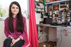 "In her bedroom, in Nottingham.Ellie Burns, 18, is doing A-levels in English language, English literature and art at a sixth-form college in Nottingham. ""I've got a couple of Leeds festival posters. My Bastille poster is stolen; I went to see them and I nicked it on the way out. There's a lot going on [in my room], it's a mixture of everything. I'm quite into bright colours and because my room is white and I just wanted to fill it to reflect my personality and the things I like."""