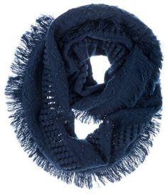 Quagga Fanfare Fringe Knit Infinity Scarf for Ladies - Navy