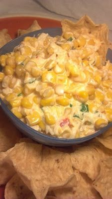 Spicey corn dip-2 cans drained canned corn, 2 small cans of salsa, 1 small can of diced green chiles, 1 cup shredded habanero jack cheese, and 2 cups Greek yogurt. Serve chilled with tortilla chips!