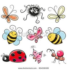 Illustration about Cute Cartoon insects isolated on a white background. Illustration of patches, swirl, pins - 89065890 Cartoon Drawings, Easy Drawings, Animal Drawings, Doodle Art, Butterfly Drawing, Drawing Flowers, Art Flowers, Flowers Garden, Watercolor Flowers