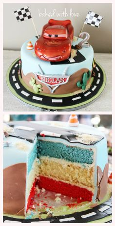 Lightning McQueen cake https://www.facebook.com/pages/Baked-with-Love/115563808503000
