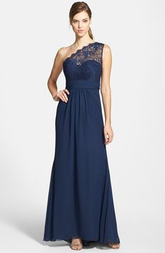 Free shipping and returns on Jim Hjelm Occasions One-Shoulder Lace & Chiffon Gown at Nordstrom.com. Ruched romantic lace overlays one shoulder and the fitted sweetheart bodice of a stunning chiffon gown that floats easily to a graceful, floor-sweeping hem.